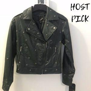 Collection B Green Star Studded Moto Jacket SZ XS